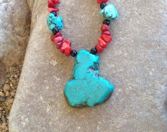 Chunky Turquoise and Corral Necklace