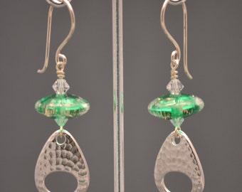 Artisan made-Green Glass and silver dangle earrings-HANDMADE-OOAK-sra