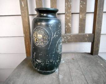 Antique Vintage Tokanabe Ware Matte Black Vase Urn Circa 1920's . Clay Pottery Handmade Owl & birds Rare Collectible Vase