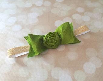 Green and Gold Handmade Silk Bow Couture Headband - Green Apple 100% Silk Couture Newborn Photo Prop Headband - Lime Green Bow