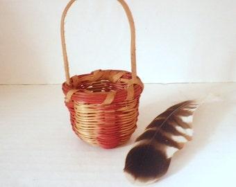 """Vintage Miniature Cherokee Indian Basket Honeysuckle & Oak 2"""" Native American"""