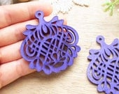WP35 / # 8 Violet / Wood Filigree Lace Dangle For Earring/ Laser Cut Lace Charm / Pendant /  Filigree Wood Gift /Light earrings