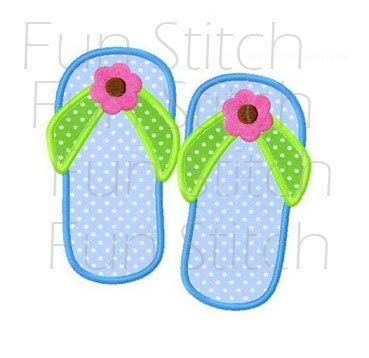 839bbbd479b Summer flip flop applique machine embroidery design from FunStitch on Etsy  Studio