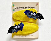 Halloween Hair Bow Bat Hair Clips Fall, Halloween Kids Bows, giddyupandgrow
