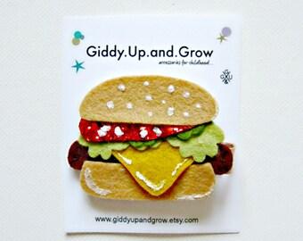 SALE Hamburger Glitter Hair Clip Summer giddyupandgrow