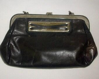 Handbag 1950's Top Handle Brown Glove Leather Metal Frame Purse