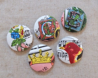 Fabric Covered Buttons (XL) - Retro Vintage Style Musical Notes Music Floral Letters Crown Bird Birds Flowers(5Pcs, 1.5 Inch)
