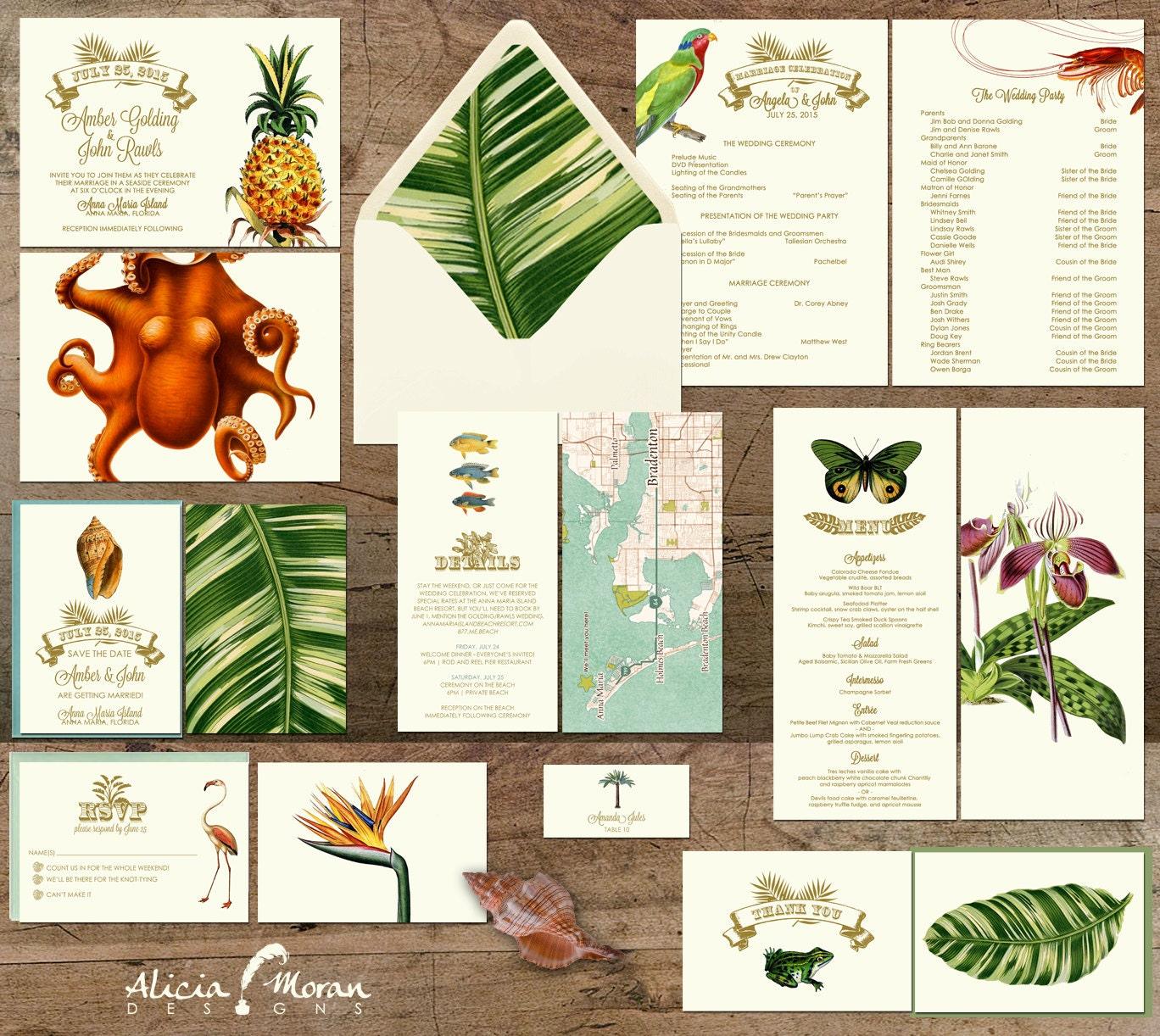 Wedding Invitation Suite: SAMPLE Tropical Destination