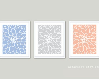 Dahlia Art Prints - Dahlia Wall Art - Modern Flower Art Prints - Blue Serenity Grey and Rose Quartz Prints - 2016 Color of the Year Decor