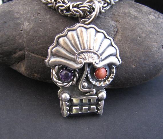 dos equis azteca sterling bodyguard amulet with amethyst and. Black Bedroom Furniture Sets. Home Design Ideas