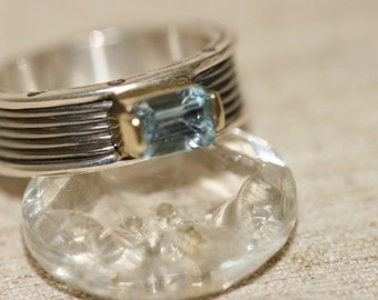 Aquamarine Silver Ring , Silver and Gold Ring , Blue Stone Silver Ring, Titanium Ring, Birthstone Ring,