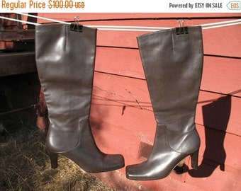 DEADSTOCK 90s Via Spiga Italian Leather Brown Boots  Hipster HighFashion Mint Never Worn Size 8M
