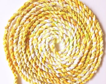 Fabric Twine in Yellow / Handmade From Vintage Sheets / Rag Rope / Crochet / Knit / Fiber Arts / Craft Supply / Fiber Crafts - By The Yard