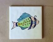 "Ceramic tile fish, 4"" fish tile, hand painted ceramic tile, bathroom decor, beach house decor, modern designer tiles."