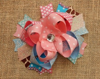 Hair Bow, Colorful Hair Ribbon, Custom Baby Hairbow, Ribbon Hair Clip, Baby Hair Bow Clip, Pink, Blue, Giraffe bow