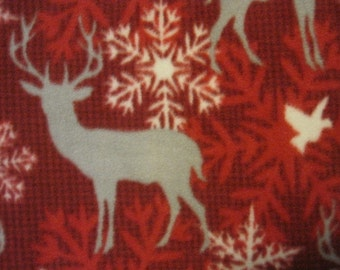 Deer in Silhouettes with Red Christmas Blanket - Ready to Ship Now