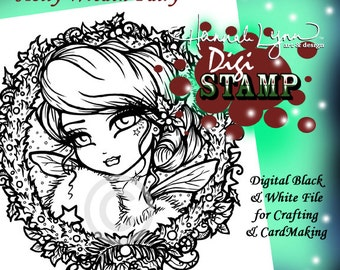 PRINTABLE Holly Wreath Fairy Christmas Digi Stamp Coloring Page Fantasy Art Hannah Lynn