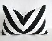 Pair Chevron Lumbar Pillow Covers w Pom Pom Trim