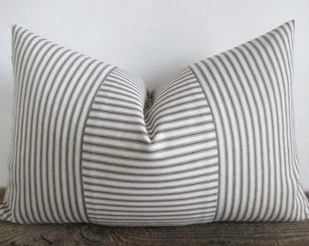 Lumbar Pillow Cover Grey Ticking Vertical & Horizontal Stripes Zipper
