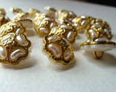 10 White and Gold Shank Buttons, Plastic Shank Buttons, Flower Buttons, White Faux Pearls with Gold Rim Buttons - 15mm