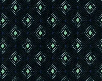 Black Blue and Aqua Geometric Diamond Cotton Lawn Fabric, Lucky Strikes By Kimberly Kight for Cotton and Steel, Nine Pin Black, 1 Yard