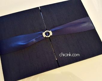 Folio Only - Elegant Silk Covered Tri-fold Folio for Wedding Invitations