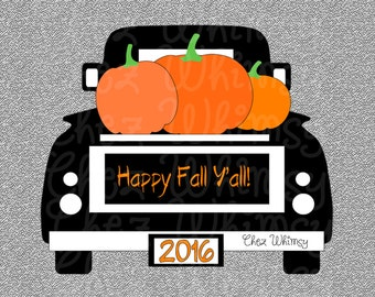 Truck SVG, Pumpkin Truck SVG, Fall Pumpkin Truck Design, Happy Fall Y'all Svg, Truck with Pumpkins