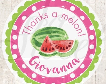 Watermelon Party Favor Stickers, Thank You Stickers, Birthday Party Favors, Girls Birthday Decorations, 1st Birthday Favors - Set of 24