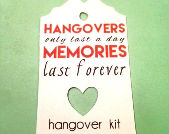 Hangover Kit Tag, Set of 12, DIY Hangover Kit, DIY Hangover Bags, Personalized Name Tag, Wedding Favor Bags, Bachorlette Favors