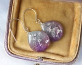 purple and blue drop earrings with silver leaf and silver glitter on sterling silver earwires