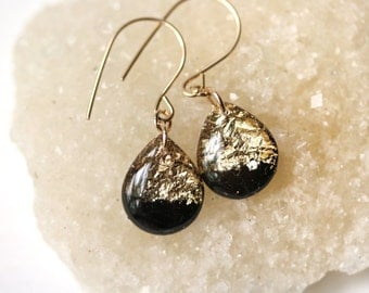 black and gold leaf and glitter tear drop earrings on 14 karat gold fill ear wires