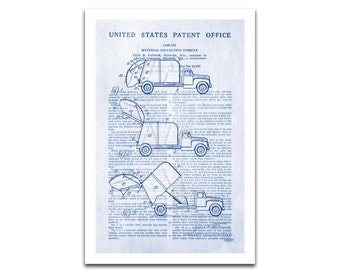 Garbage Truck Patent Art Giclee on archival matte paper