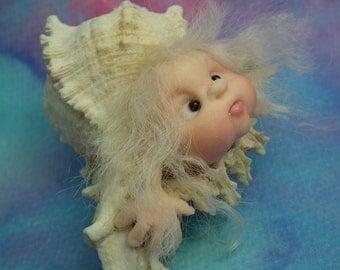 """Estryl d'Mer Urchin Elf Mermaid in a 3"""" shell OOAK Sculpt by Sculpture Artist Ann Galvin Art Doll"""