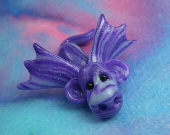 20% off with Coupon Code: DRAGONDAYS20 Precious Veined Violet Baby SeaDrake Fingertip Dragon 'Gloam' OOAK Sculpt Sculpture Artist Ann Galvin