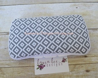 READY TO SHIP, Gray and White Aztec, Tribal, Travel Wipe Case, Wet Wipe Case, Baby Wipe Case, Personalized Case, Diaper Wipe Case, Baby Gift