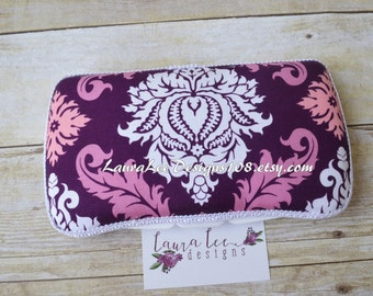 READY TO SHIP, Purple White and Pink Large Damask, Travel Baby Wipe Case, Personalized Case, Diaper Wipe Case, Wipe Holder, Baby Shower Gift