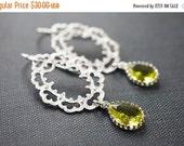 14OFFSALE Earrings, Lace Earrings, Green Earrings, Silver Earrings, Rhodium Earrings, Glass Earrings, Apple Green Glass, No. ES093