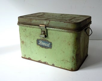 Vintage Metal Bread Box with Hinged Lid and Handles / Distressed Weathered Worn Rusty / Rustic Decor / Storage Organization / Green