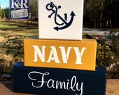 NAVY Family Military Blocks Shelf Sitter Decor painted wood sailor chief home art sign officer