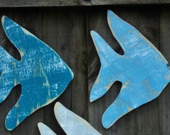 Set Of 3 Rustic Angel Fish, Beach House Decor, Nautical Wall Hanging