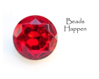 VINTAGE 18mm Round Siam Ruby Red Glass Faceted Stone from Czechoslovakia, Faceted Tops, Faceted Foiled Backs, (D1-R3-C1), Quantity 1