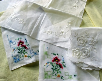 4 Vintage Hankies embroidered petite point white