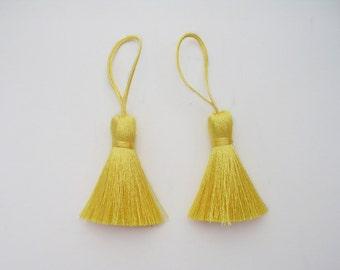 Warm Yellow Tassel Handmade Silk Dangling Trim Fringe Jewelry Making Pillow Case Sewing Embellishments 2 Pieces