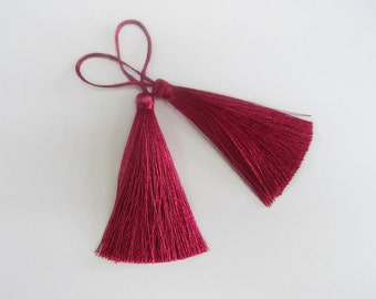 Dark Pink Long Tassel Silk Dangling Trim Fringe Jewelry Making Earrings Quilting Sewing Embellishments 2 pieces
