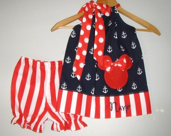 Disney Minnie Mouse dress  Red white blue BLOOMER pillowcase dress Disney dress  3,6,12,18 month 2t,3t,4t,5t,