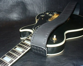 Handtooled Black Leather Guitar Strap. Made in Italy.