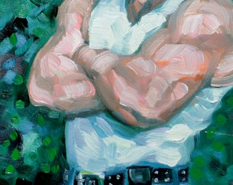 Blue Jean Bear, oil on canvas panel, 11x14 inches by Kenney Mencher (gay art)