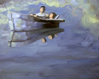 Dream Boat, oil on canvas panel, 16 x 20 inches by Kenney Mencher