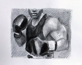 Nefarious Boxer, crayon and watercolor on acid free sketchbook paper 11 x 14 (image is 8 x 10 inches) by Kenney Mencher