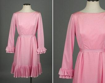 designer vintage EMMA DOMB dress • bubblegum pink ruffled 1960s dress
